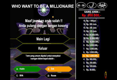 Who Wants to Be a Millionaire game over