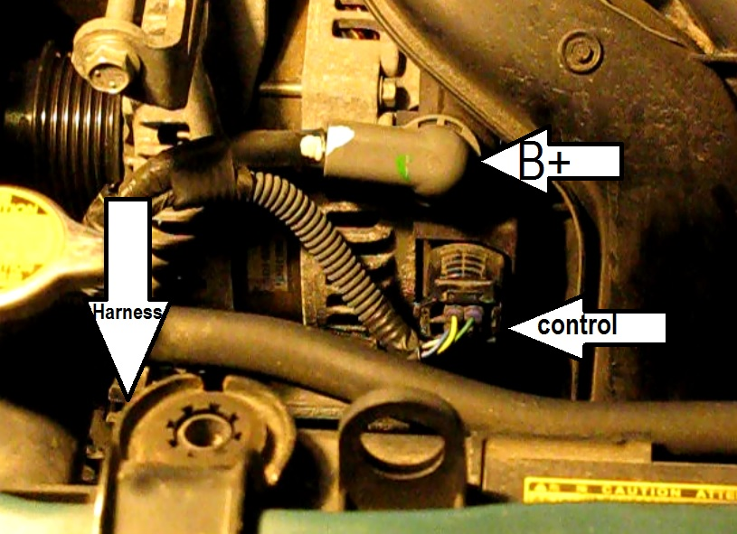 wiringwith%2Bpaint the original mechanic how to replace the alternator in a 1 8l how to disconnect alternator wiring harness at mr168.co