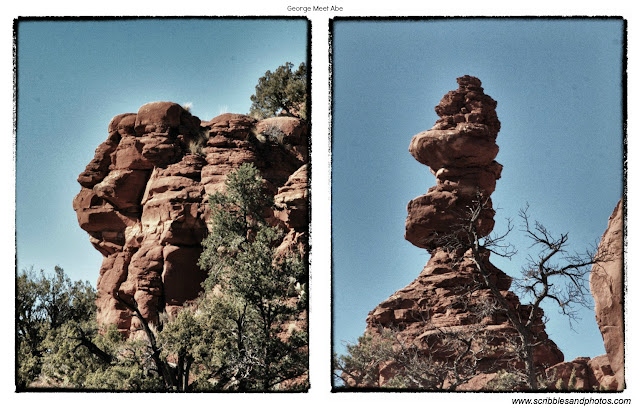 PicMonkey of Abe Lincoln and George Washington Rock Formations along Baldwin Trail in Sedona.