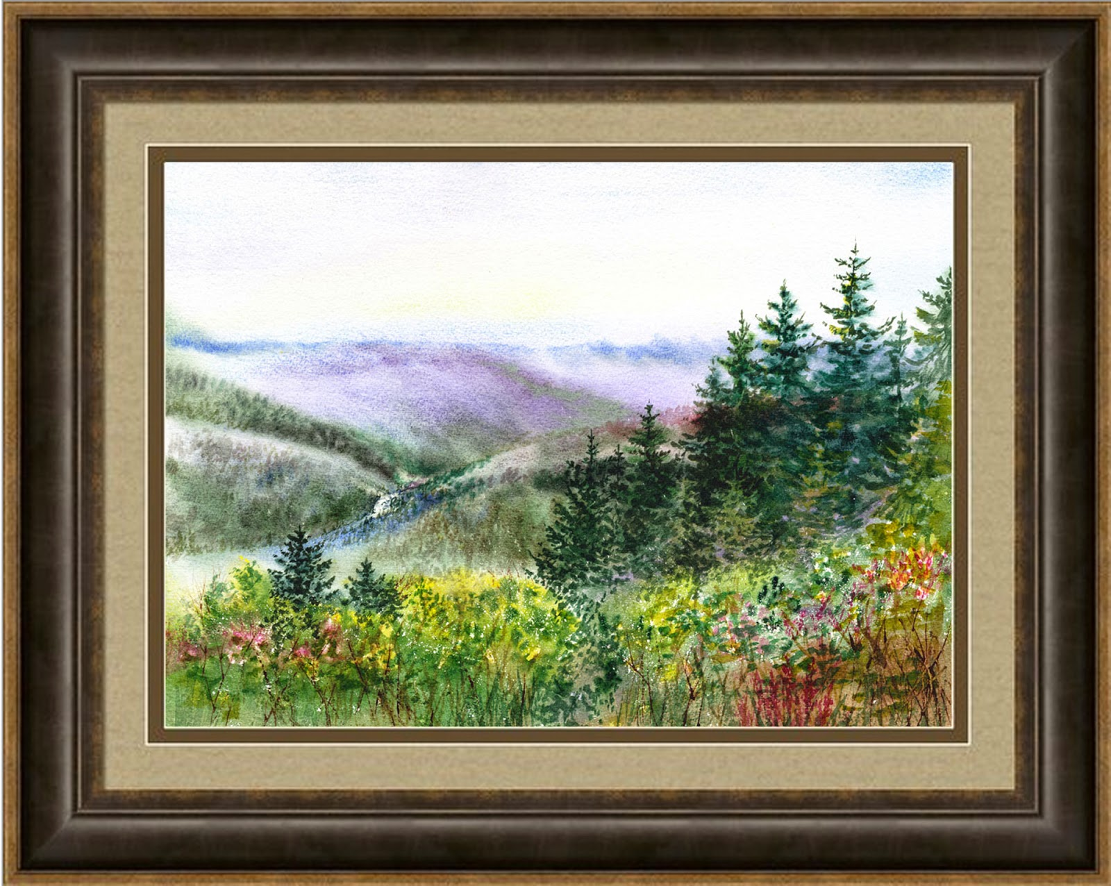 realism in watercolor California landscape