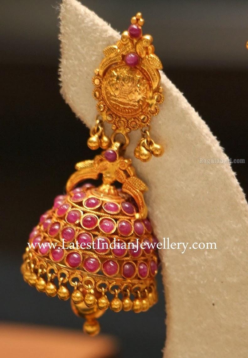 Beautiful Ruby Jhumki Earrings Latest Indian Jewellery
