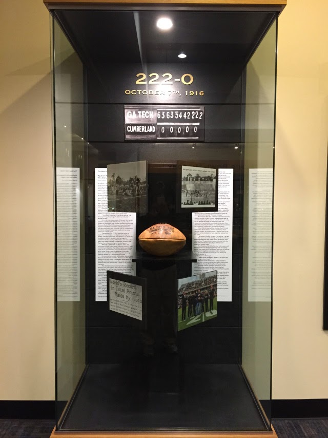 Georgia Tech puts ball from 220-0 win over Cumberland University on display in athletic center.