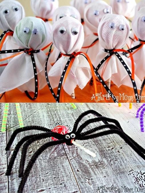 Lembrancinha para o Dia das Bruxas - Pirulito Aranha e Pirulito Fantasma