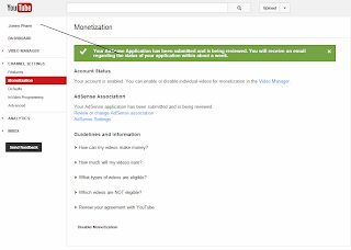 Your AdSense Application has been submitted