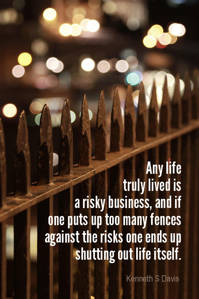 visual quote - image quotation for LIFE - Any life truly lived is a risky business, and if one puts up too many fences against the risks one ends up shutting out life itself. - Kenneth S Davis