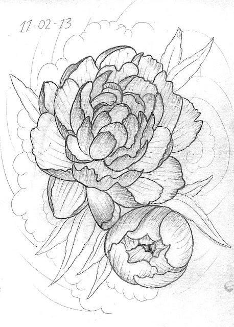 Peony Line Drawing Tattoo : Peony sketch templates