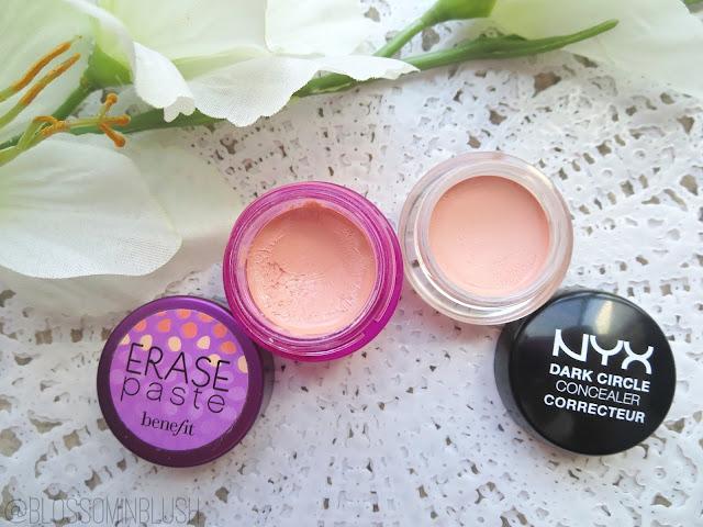 a picture of Benefit Erase Paste vs. NYX Dark Circle Concealer