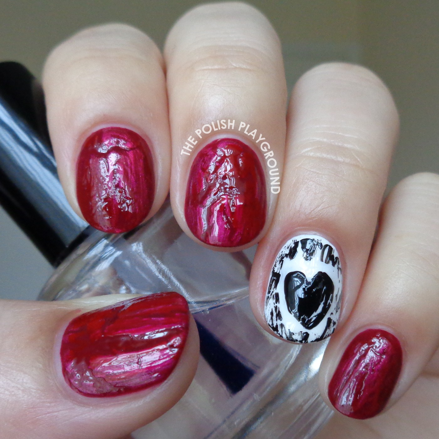 Broken Hearts Anti-Valentine's Day Nail Art