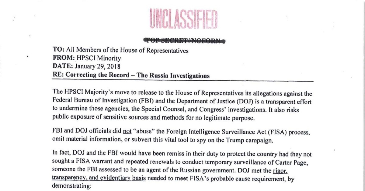 ADMA SCHIFF'S DEMOCRATIC MEMO RELEASED.