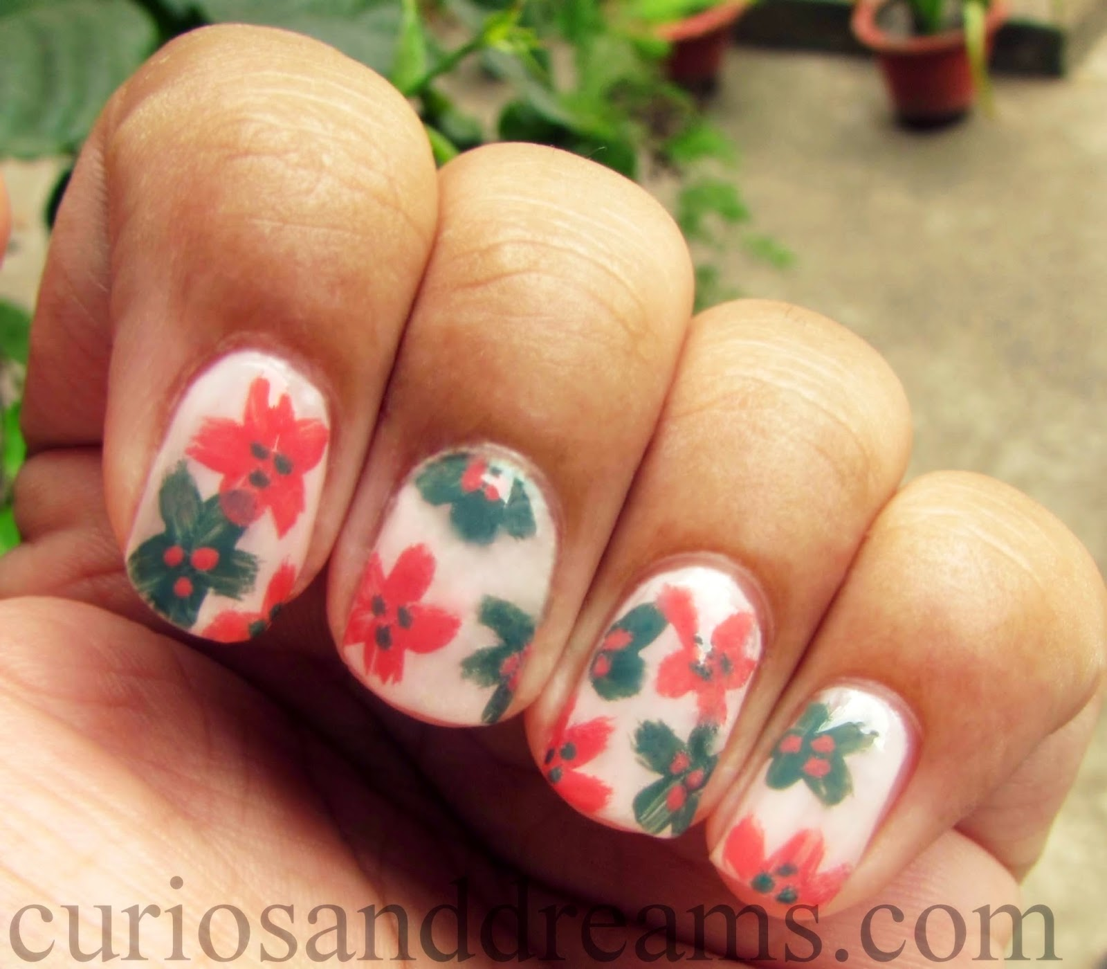 easy spring floral manicure, easy floral nail art tutorial, easy nail art designs