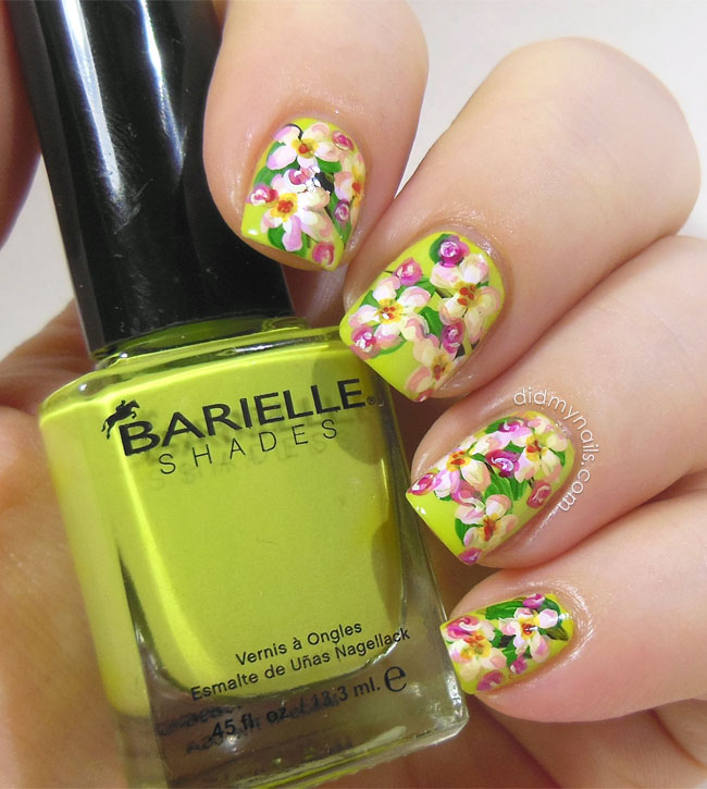 apple blossom floral nail art