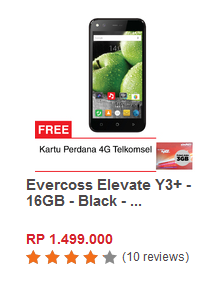 Evercoss Elevate Y3+ - 16GB - Black - Free Perdana 4G Telkomsel
