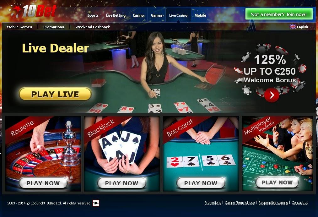 10Bet Live Dealers Screen