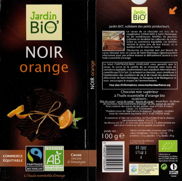 tablette de chocolat noir gourmand jardin bio noir orange