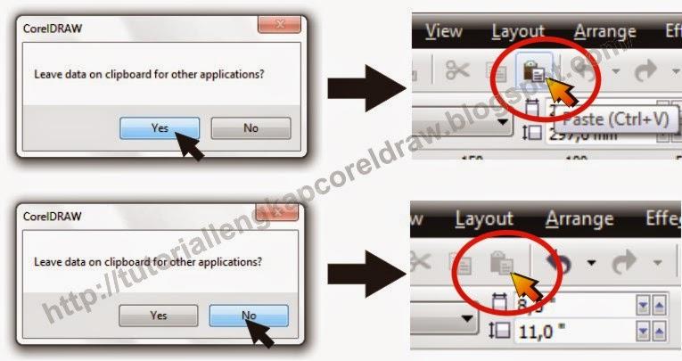 cara mengatasi leave data on clipboard for other application pada coreldraw