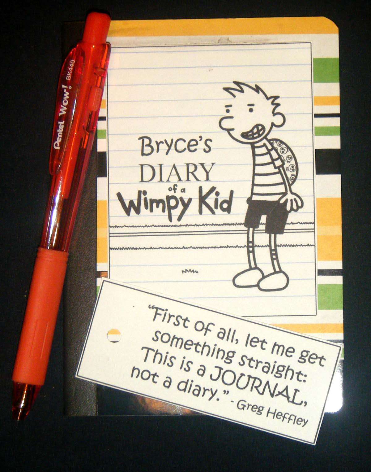 Cards by cg diary of a wimpy kid goody bags for Diary of a wimpy kid crafts