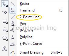 menggunakan 2-point line tool untuk membuat garis 1