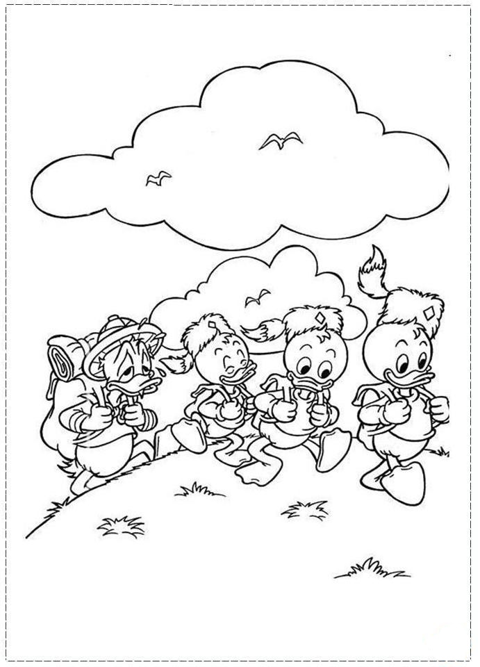 Desenhos Para Colori pato donald e seus sobrinhos desenhar