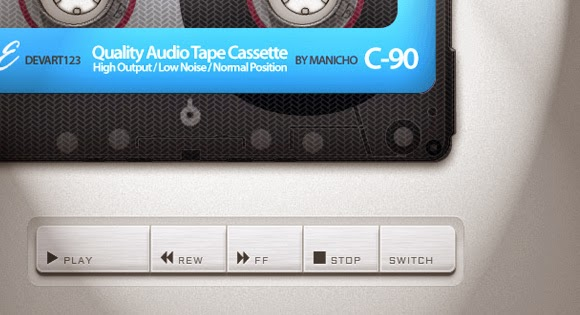 Old school cassette player with HTML5 audio