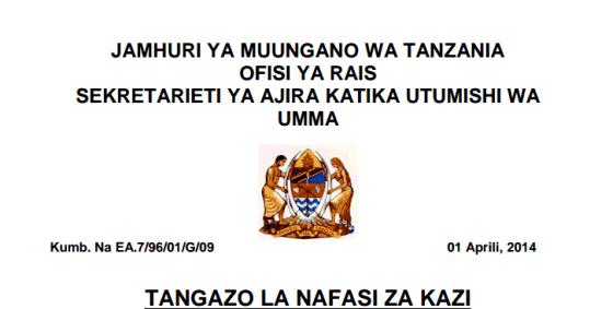 la nafasi za kazi kutoka Sekretariati ya Ajira katika Utumishi wa Umma