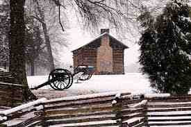 photo of Civil War cabin at Christmas