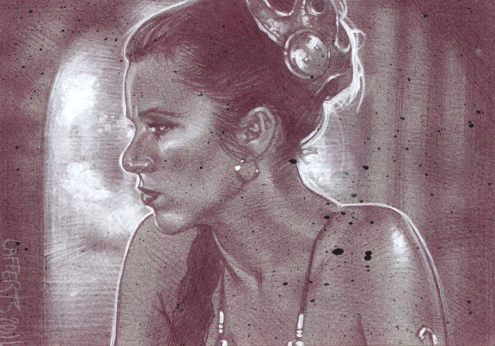 Princess Leia slave outfit(Pencil study) ACEO Sketch Card by Jeff Lafferty