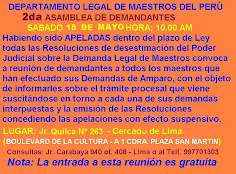 SABADO 18 DE MAYO ASAMBLEA DE MAESTROS DEMANDANTES DEL PER