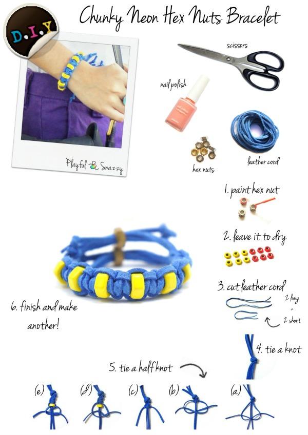 D.I.Y Chunky Neon Hex Nuts Bracelet