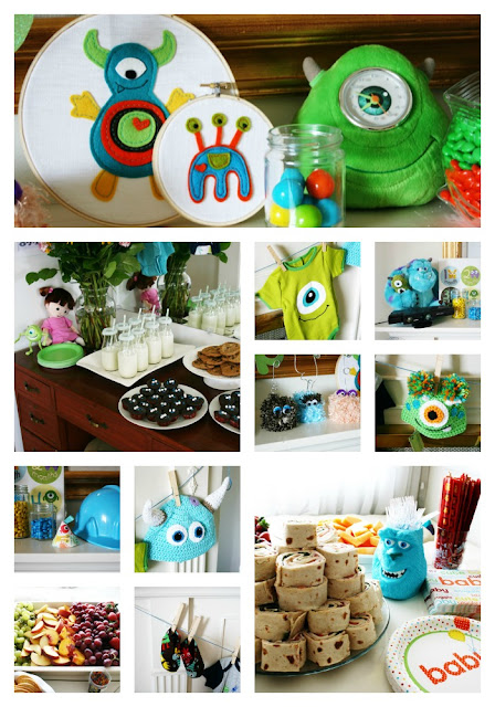 Photo collage for Monsters Inc Baby Shower