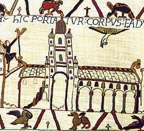 Image from teh Bayeux Tapestry of the old Westminster Abbey, built by Edward the Confessor