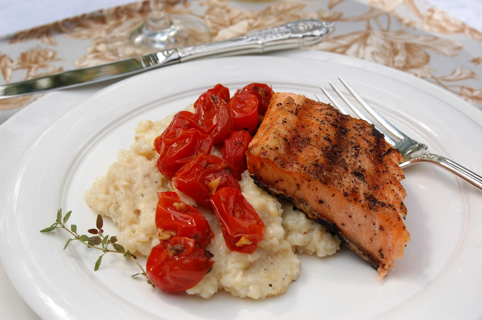 Grilled Salmon With Roasted Cherry Tomatoes And Parmesan