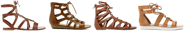I love the lace up gladiator sandals that I have been seeing everywhere! One of these pairs is from Gianvito Rossi for $835 and the other three are under $90. Can you guess which ones are the designer pair? Click the links below to see if you are correct!