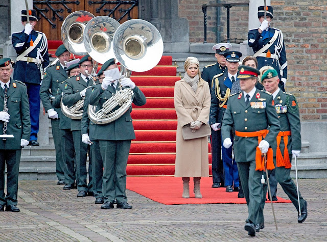 King Willem-Alexander and Queen Maxima of The Netherlands attend the ceremony of the Military Willems-Orde to Majoor Gijs Tuinman