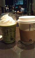 Starbucks green tea frapuccino and Signature hot chocolate