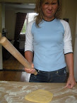 Caution: woman with rollingpin