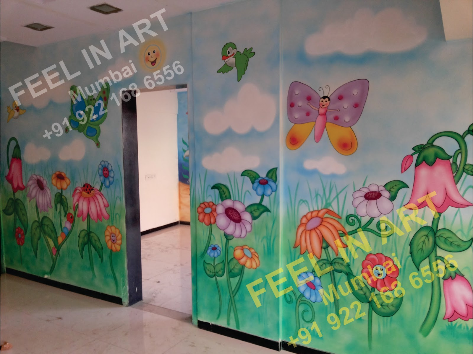 Wall Art For Play School : Play school wall painting classroom cartoon