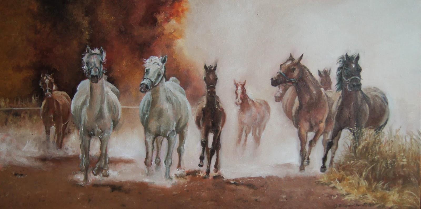 Konie w galopie – obraz olejny 50×80 cm