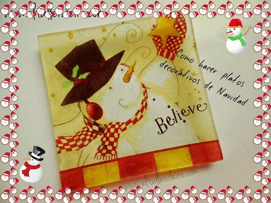 Bandeja de cristal con decoupage manualidades for Bandejas de navidad