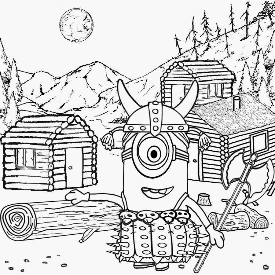 Coloring games online minion - Norse Mythology Childrens Simple Minion Coloring Pages Printable Thor Viking God Costume Horned Hat