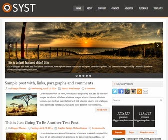 Syst is a SEO Friendly, Responsive, 2 Columns Blogger Template with 4 Columns Footer Widgets Area. Syst Blogger Template has a Right Sidebar,