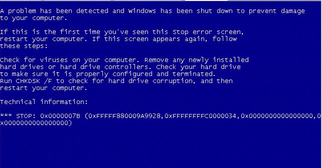Blue Screen - przykład