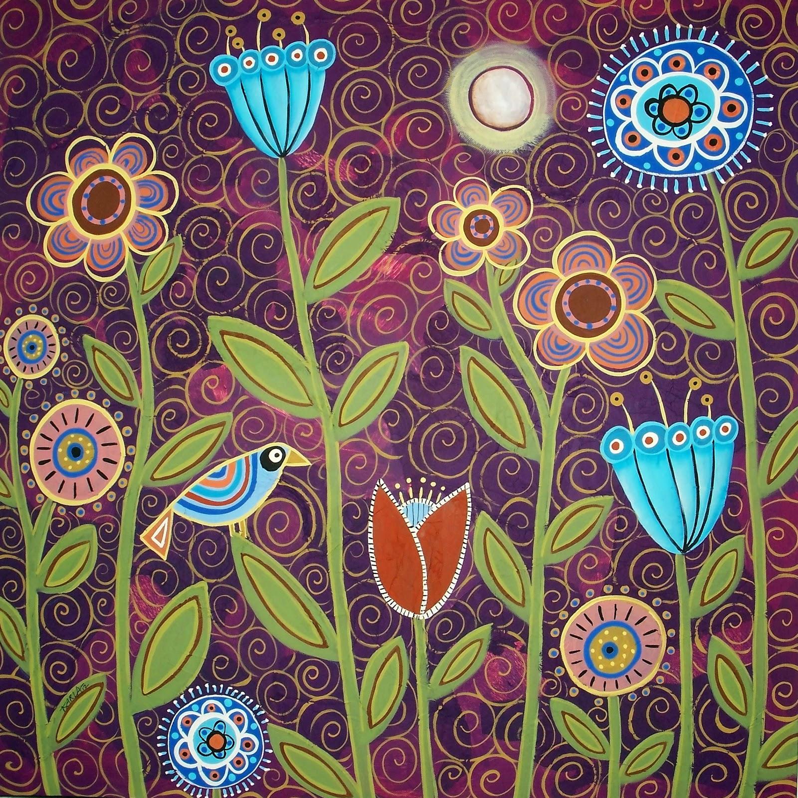 karla gerard art: Moonlit Blooms by Karla Gerard