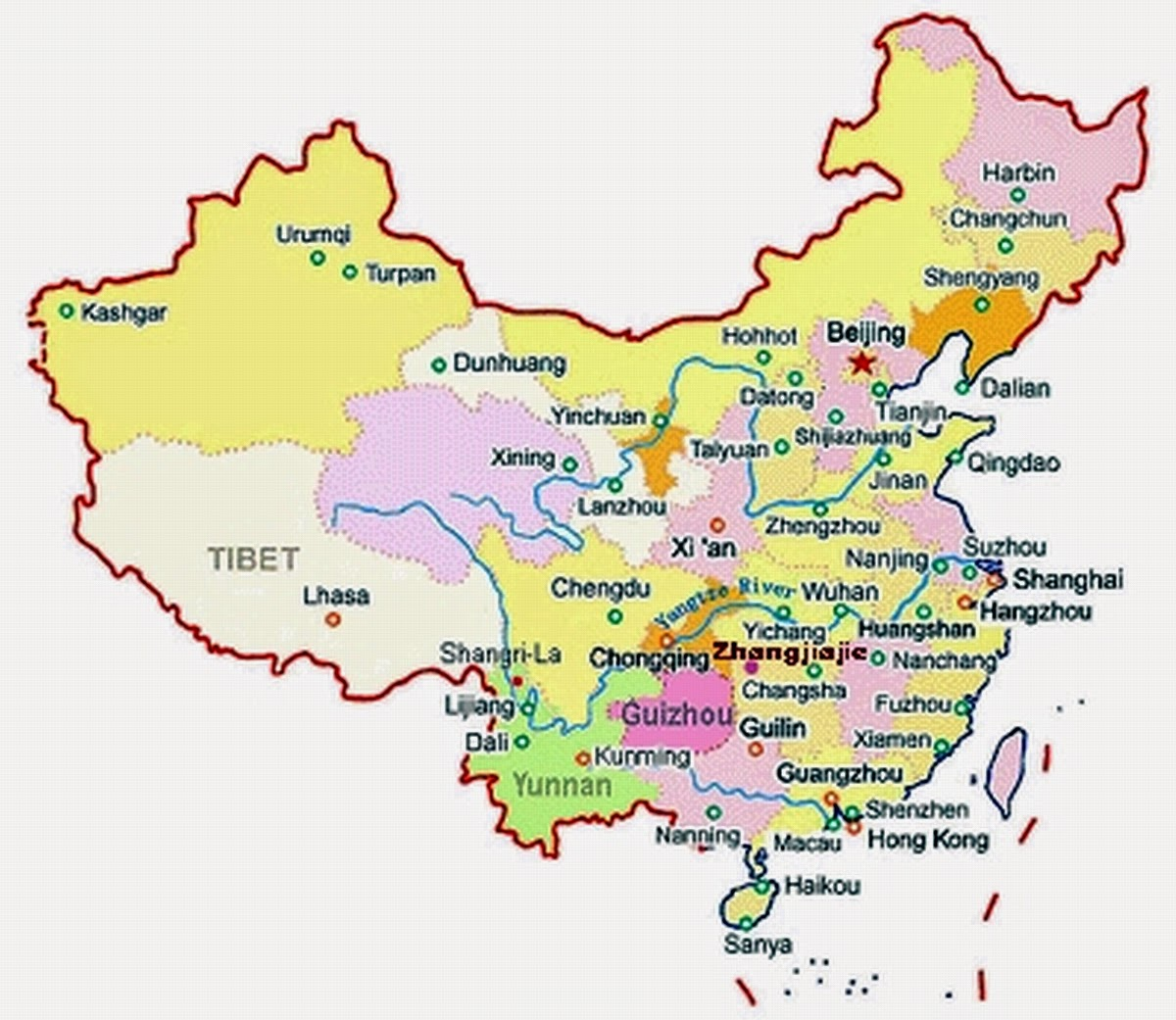 china map zhangjiajie national forest