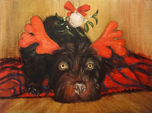 oil painting of dog under the mistletoe, dressed dog