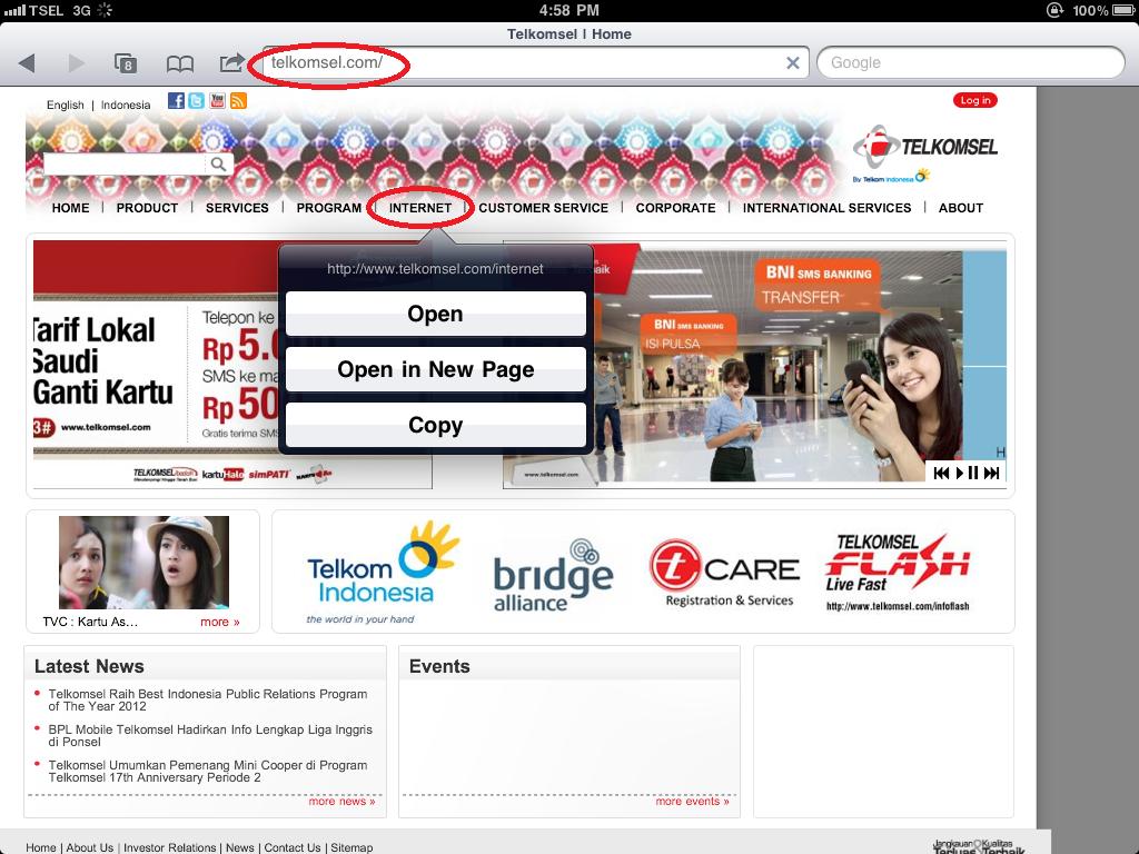 "Masuk ke www.telkomsel.com , kemudian klik tab ""internet"""