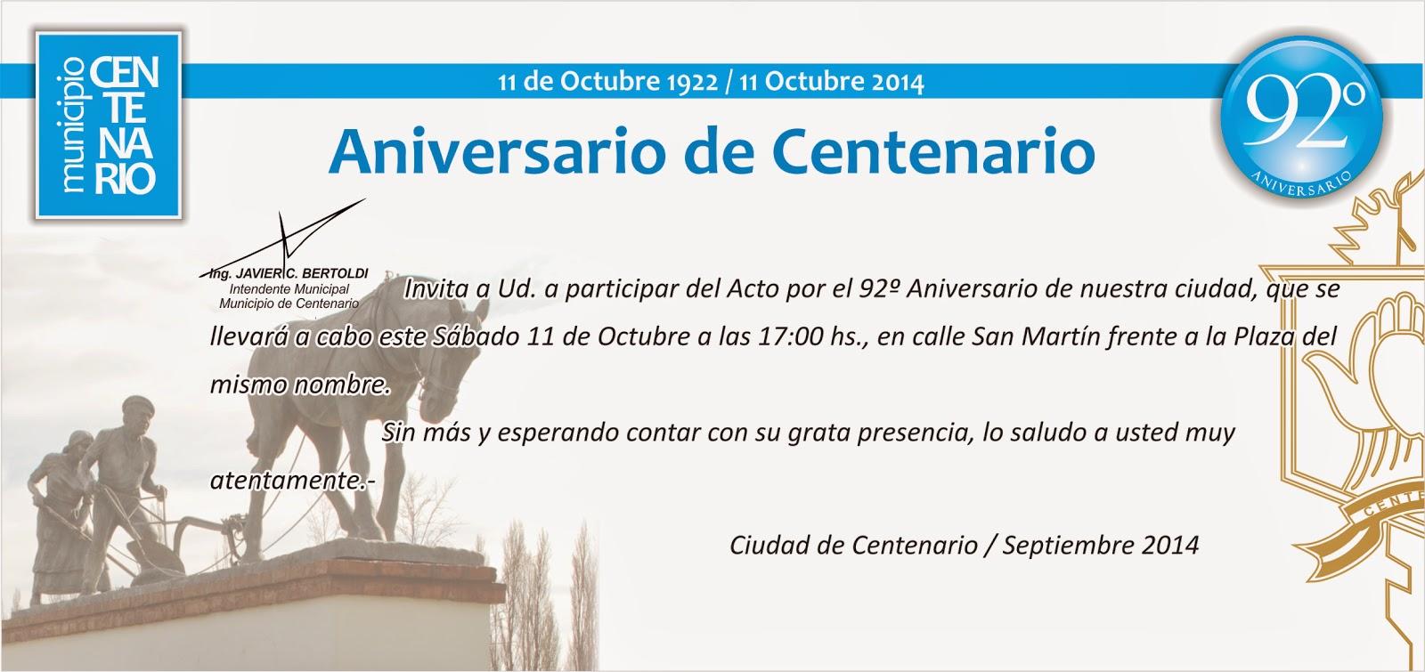 Aniversario de Centenario el próximo sábado 11 de Octubre a partir de las 17 hs. en la plaza San Martín