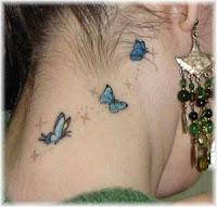 Modelo de desenhos para tatuagens no pescoço - Borboletas e Fadinhas