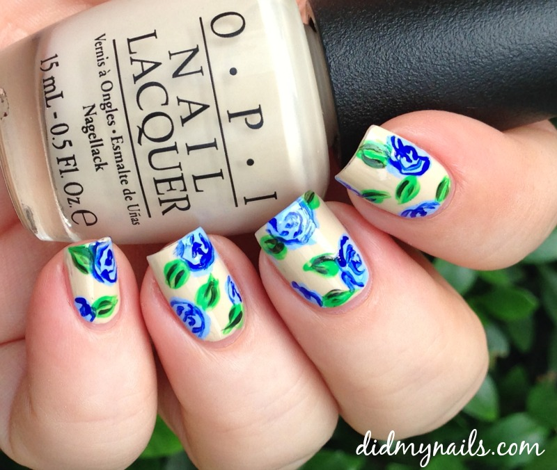 blue flower nail art