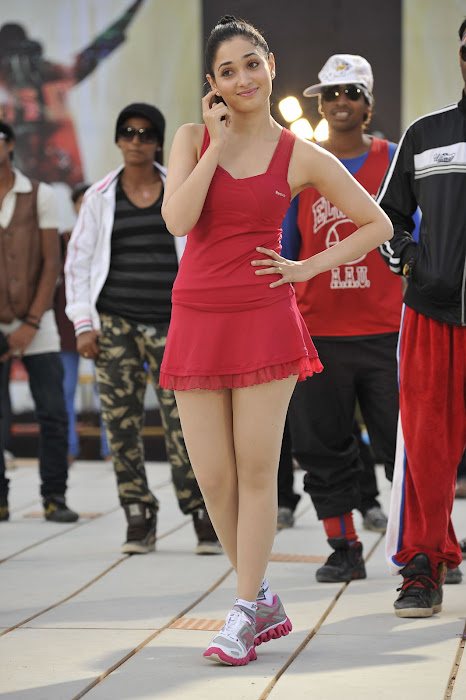 Tamanna in Red Short Skirt, Red T-Shirt and Sports Skirt and Shoes