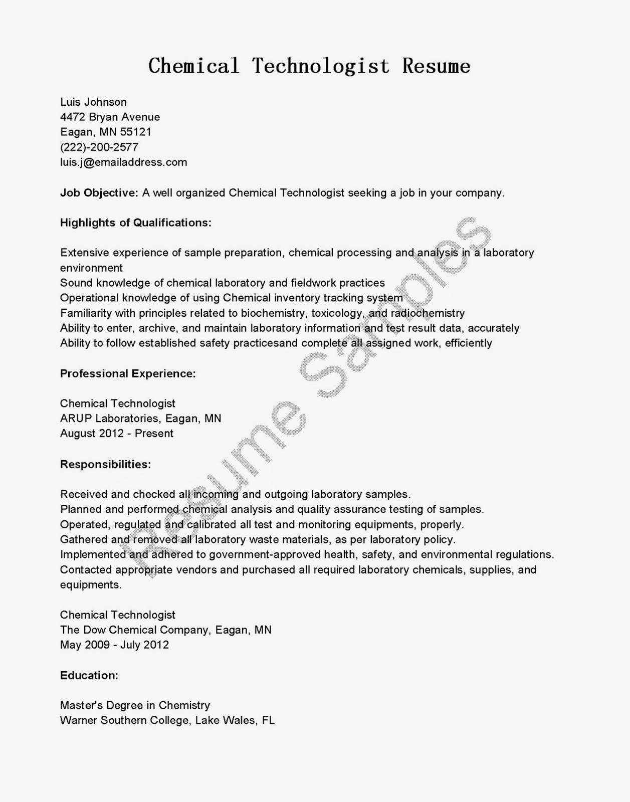resume samples  chemical technologist resume sample